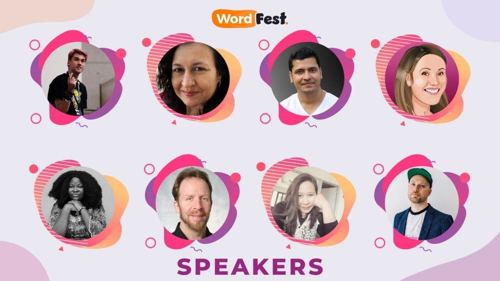 Photos of the first 8 WordFest Live 2021 Speakers