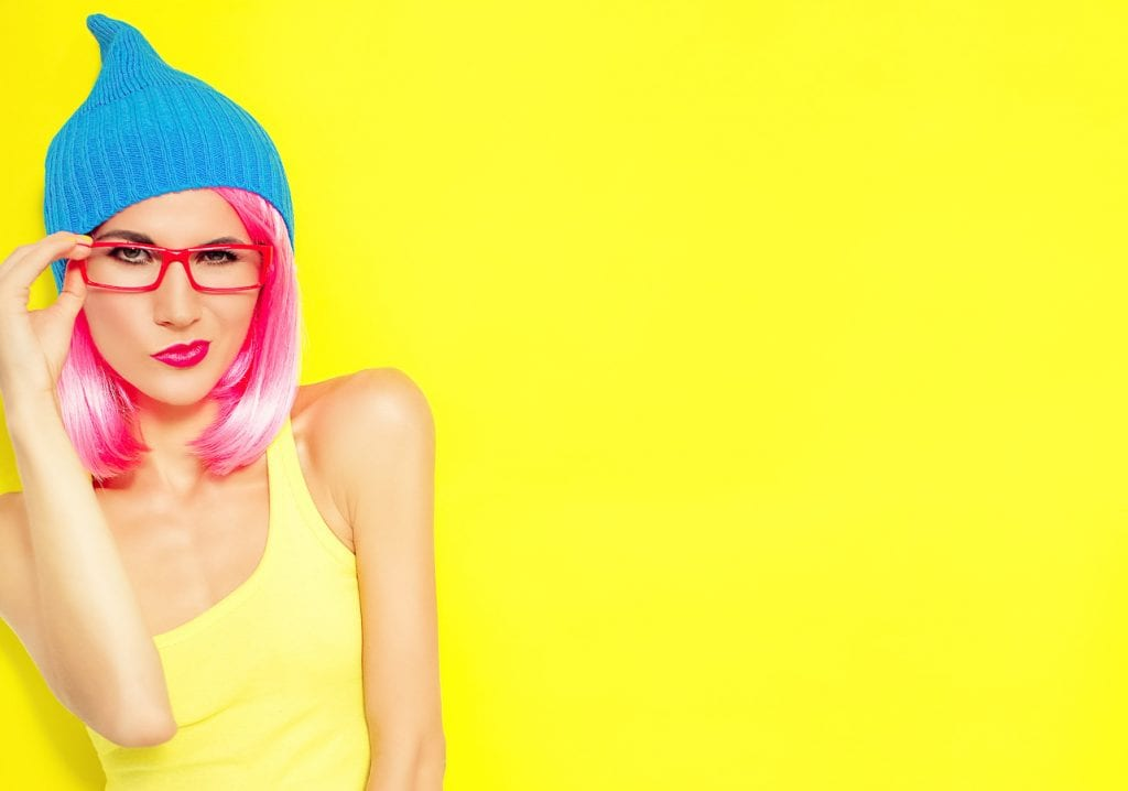 bright, funny pink-haired woman