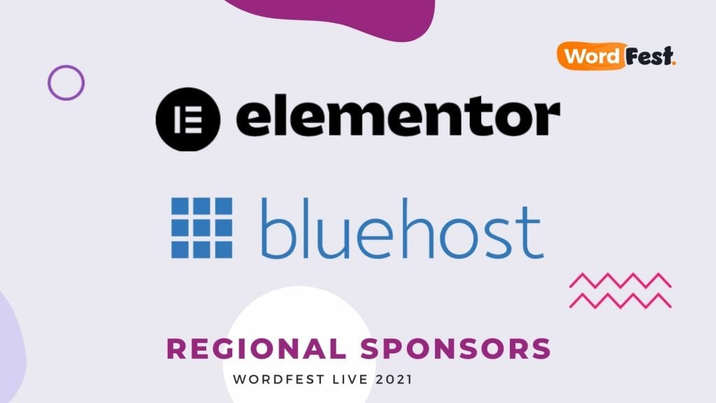 WordFest Live 2021 Sponsors - Elementor & Bluehost